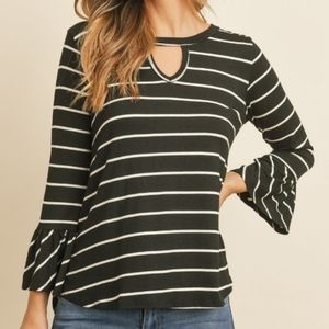 Long Sleeve Stripe Cut Out Bell Sleeve Top